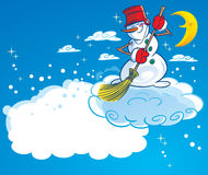 Snowman on a cloud Royalty Free Stock Photography