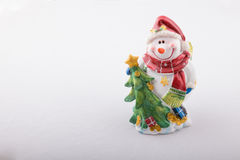 Snowman, cobbled together from gypsum. Moneybox Royalty Free Stock Photography