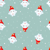 Snowman cock. Seamless Christmas pattern Royalty Free Stock Image