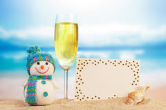 Snowman, cocktail and greeting card Royalty Free Stock Image