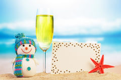 Snowman, cocktail and greeting card Stock Image