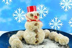 Snowman coconut cookie Royalty Free Stock Photos