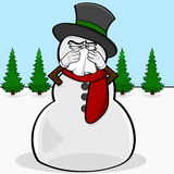 Snowman with a cold Stock Images