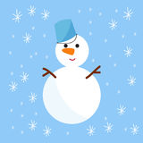 Snowman cold christmas season winter white man in hat character xmas background holiday card vector illustration Stock Image