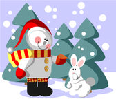 Snowman color 06. Vector. Snowman  with gift in color 06 Stock Photo
