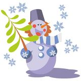 Snowman color 07. Snowman with tree in color 07 vector illustration