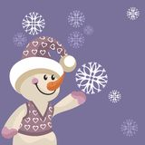 Snowman color 12. Cartoon snowman in color 12 Royalty Free Stock Image