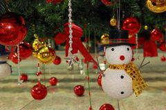 Snowman and color ball, ornaments Christmas decorations Royalty Free Stock Image