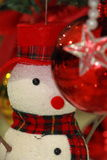 Snowman and color ball, ornaments Christmas decorations Stock Photography