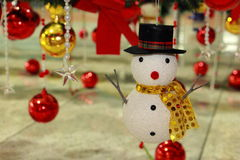 Snowman and color ball, ornaments Christmas decorations Royalty Free Stock Images