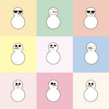 9 snowman on a colorful background. 9 emotions snowman on a colorful background Stock Illustration