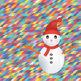 Snowman on colorful background. Greeting card of snowman on colorful background Royalty Free Illustration