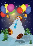 Snowman with colorful balloons Stock Images