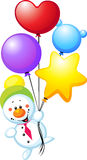 Snowman with colorful balloons Royalty Free Stock Images