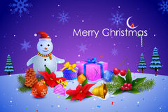 Snowman with colorful Christmas gift Royalty Free Stock Image