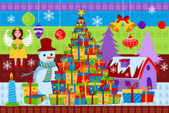 Snowman with colorful Christmas gift. Vector illustration of snowman with colorful Christmas gift Stock Illustration