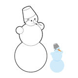 Snowman coloring book. Christmas character out of snow.  Royalty Free Stock Images