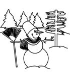 Snowman coloring page Stock Photo