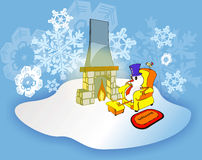 Snowman in a comfortable house. Snowman sat on an armchair next to the chimney in a comfortable house with a welcome mat and bird while outdoors is snowing royalty free illustration