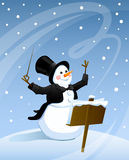 Snowman conducts snowstorm Royalty Free Stock Photos