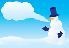 Snowman with congratulation Royalty Free Stock Photos