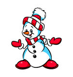 Snowman Congratulations Christmas cartoon illustration Royalty Free Stock Photo