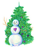 Snowman with conifer Royalty Free Stock Images
