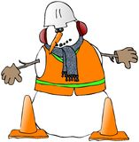 Snowman Construction Worker Royalty Free Stock Photo