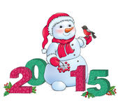 Snowman and 2015. Contains transparent objects. EPS10 Stock Photo