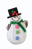 Snowman cookie isolated on white. Frosty the Snowman gingerbread cookie isolated on white background in vertical format Royalty Free Stock Photos