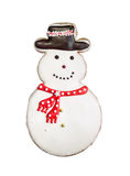 Snowman cookie isolated on white Royalty Free Stock Images