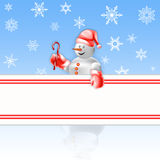 Snowman with copy space. Greeting Christmas card with snowflakes, snowman, banner for your text Royalty Free Stock Photography