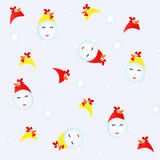 Snowman costume cock. Snowman in a rooster suit. Seamless Christmas pattern Stock Photo