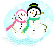 Snowman Couple  Royalty Free Stock Photo