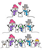 Snowman Couple and Family/eps. Cute cartoon illustrations of a snowman couple and family with kids and dog Royalty Free Stock Photos