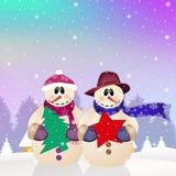 Snowman couple Stock Photos