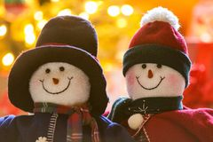 Snowman couple royalty free stock image