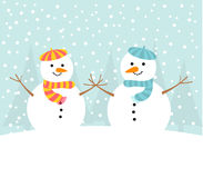 Snowman couple in winter Royalty Free Stock Images