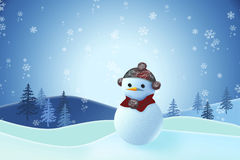 Snowman covered with snow. Royalty Free Stock Image