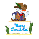 Snowman-Cowboy. Illustration Snowman in a suit of the cowboy congratulates Marry Christmas Royalty Free Stock Image