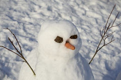 Snowman creature standing in winter landscape Royalty Free Stock Photo