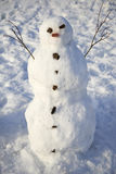 Snowman creature standing in winter landscape Stock Photo