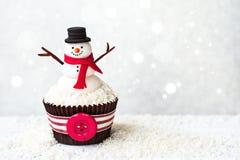 Snowman cupcake Royalty Free Stock Image