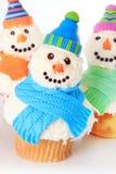 Snowman cupcakes Stock Photo