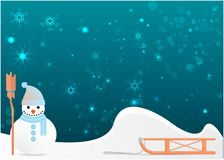 Snowman with cute broom winter illustration royalty free illustration