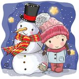 Snowman and Cute Cartoon girl. In a hat royalty free illustration