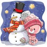 Snowman and Cute Cartoon kitten girl royalty free illustration