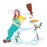 Snowman and cute girl Stock Images