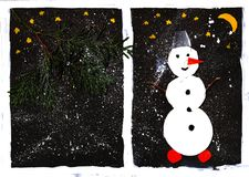 Snowman cutout and christmas tree branch, black background, child application stock illustration