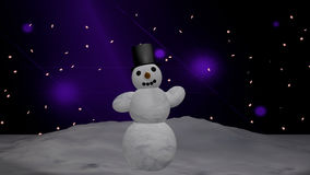Snowman with cylinder. Christmas picture with waving snowman. 3d illustration vector illustration